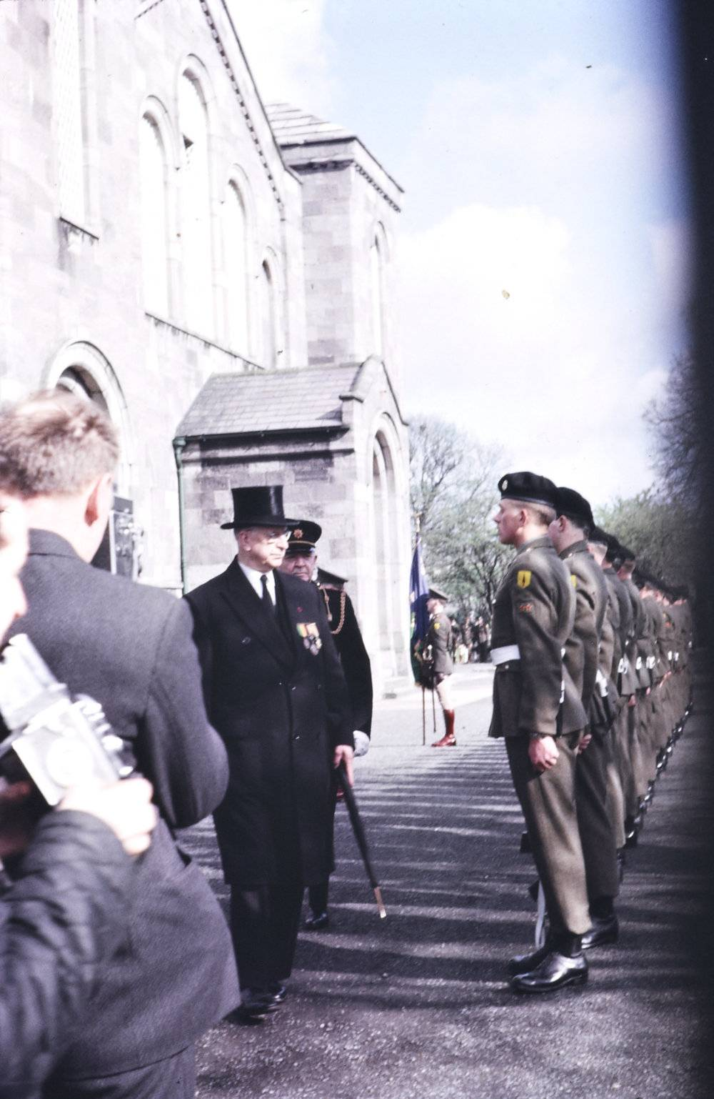 President Eamon de Valera inspects the troops at an anniversary event at Arbour Hill in 1966. National Library of Ireland.