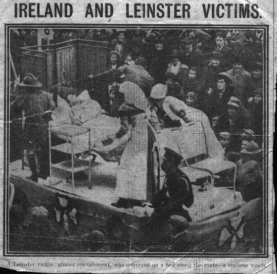 A newspaper headline and clipping from the RMS Leinster disaster. Courtesy of Philip Lecane.