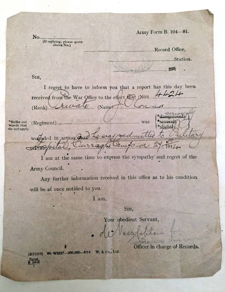 Wounded-in-action letter