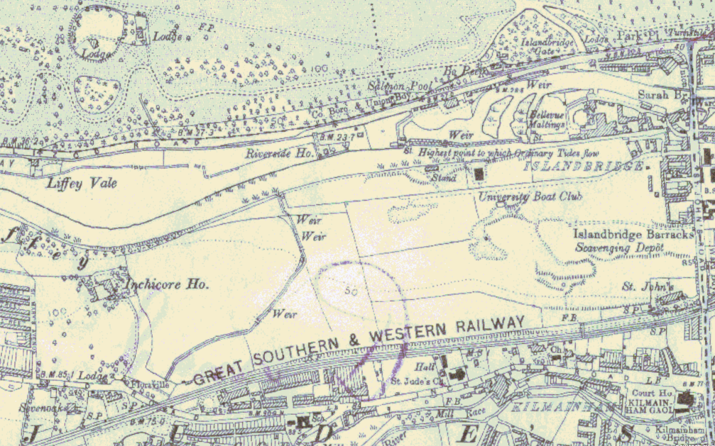 Third Edition Ordnance Survey Map. This was based on the 1837, corrected in 1907-9, and published 1911-12, so shows the land as it stood in the first decade of the twentieth century. The gravel pits are clearly outlined. South Dublin County Council Maps Gallery.