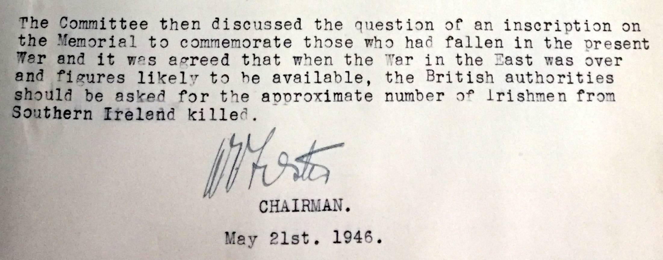 Committee Minutes, 1945. Reproduced with kind permission of the Irish National War Memorial Committee.