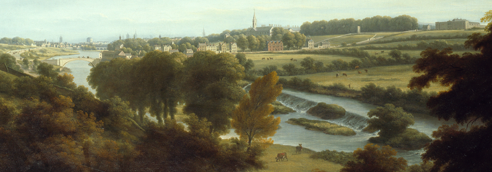 William Ashford, A View of Dublin from Chapelizod, 1795-1798. The Gardens can be seen sloping down to the weir. In the background, from left to right, is the Sarah Bridge, the Royal Hospital Kilmainham, and the newly-built Kilmainham Gaol.