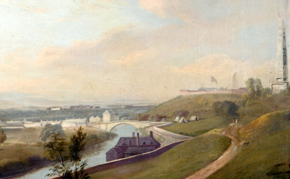William Sadler II (c.1782-1839), View of Dublin (detail). To the right of the detail is the Wellington Testimonial (still incomplete at the time). The Magazine Fort can be seen with flags flying. Just behind the strip of buildings opposite is the land which would later become the Memorial Gardens. Courtesy of the Russborough Foundation.